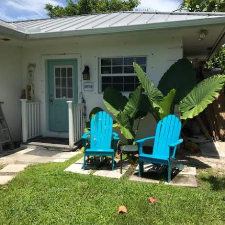 Office with two adirondack chairs